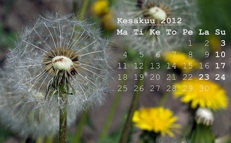 Kesäkuun 2012 kalenteri