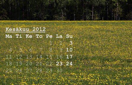 Kesäkuu 2012 kalenteri