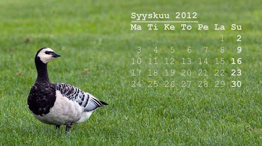 Tietokoneen taustakuvassa syyskuun 2012 kalenteri