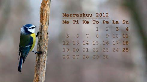 Tietokoneen taustakuva, marraskuun 2012 kalenteri